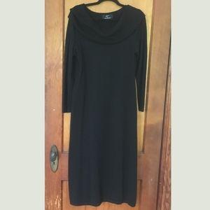 Nina Leonard Black Knit Dress